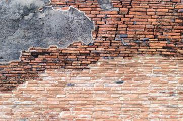 ancient brick wall Ayutthaya Thailand