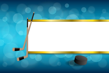 Background abstract blue hockey ice puck gold stripes frame illustration vector