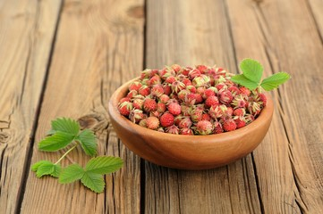 Wild strawberries Fragaria viridis with green leaves in wooden b