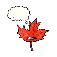 cartoon red maple leaf with thought bubble