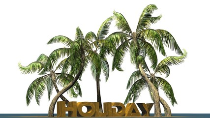 Holiday lettering with palm trees - separated on white background