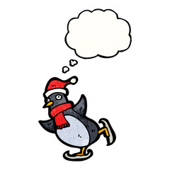 cartoon ice skating penguin with thought bubble