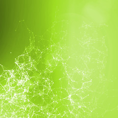 Bright green summer abstract background. Connecting dots
