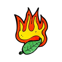flaming leaf cartoon
