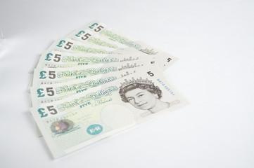 English Pounds 5 pounds  scheine fächer
