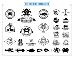 Seafood Logos, Labels, Sea Animals and Design Elements