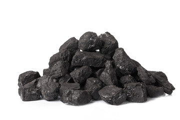 A pile of coal on a white background