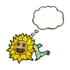 cartoon sunflower with thought bubble