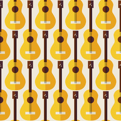 Flat Seamless Background Pattern Music Instrument Guitar