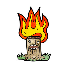 flaming tree stump cartoon