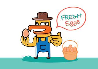 chicken farmer hold egg