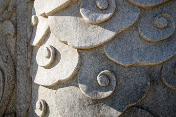 close-up of chinese style carved stone sculpture