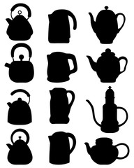 Silhouettes of teapot, vector