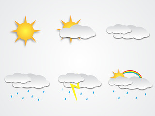 Weather forecast icons set with shadow