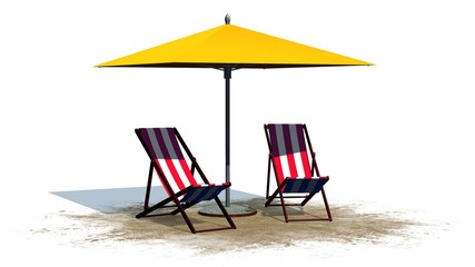 deck chairs and umbrella - separated on white background