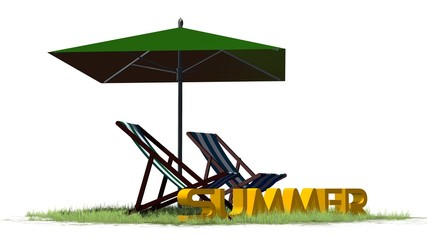summer lettering with deck chairs and umbrella - separated on white background