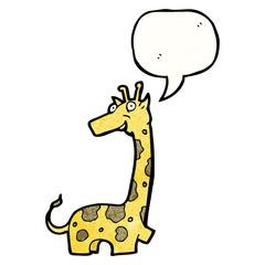 cartoon giraffe with speech bubble