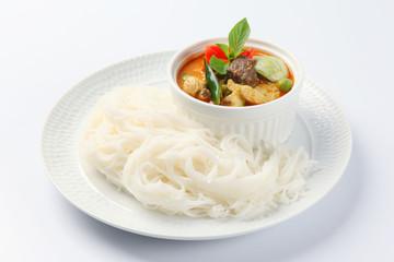 Thai vermicelli eaten with green curry, Thai Food