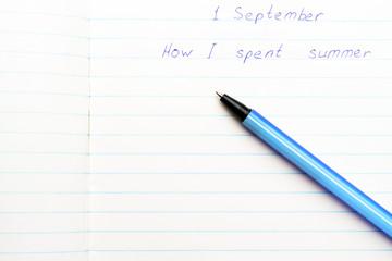 Caption 1 September ballpoint pen in a school notebook