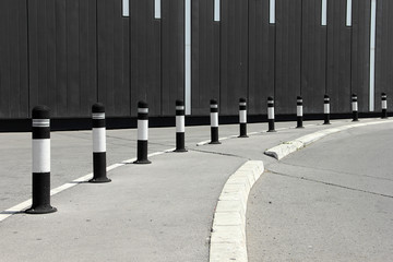 Parking columns on the parking lot
