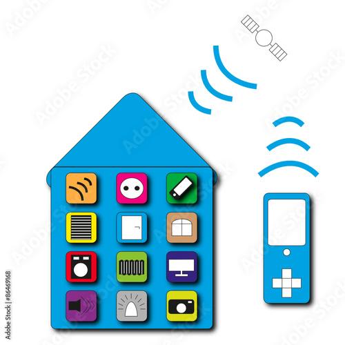 steuerung smart home fichier vectoriel libre de droits. Black Bedroom Furniture Sets. Home Design Ideas