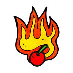 flaming cherry cartoon