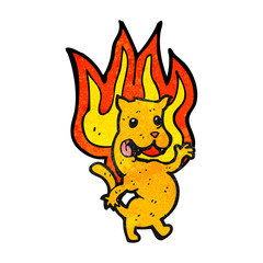 cartoon cat on fire