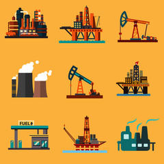 Oil extraction, refinery and retail flat icons