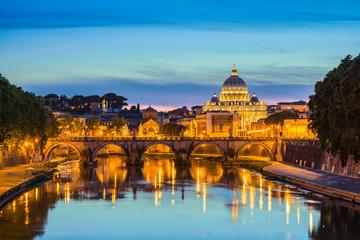 Canvas Prints Rome Saint Peter's Basilica and Sant'Angelo bridge - Rome - Italy