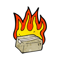 flaming box cartoon