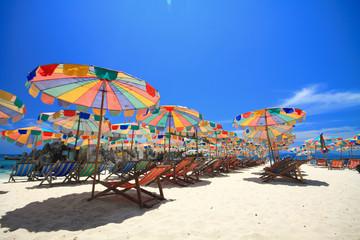 PHUKET beach with color umbrella
