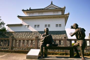 静岡 駿府城、弥次喜多像と巽櫓