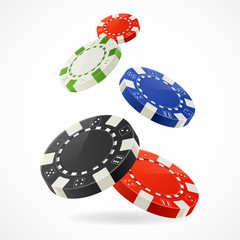Vector Falling Poker Chips