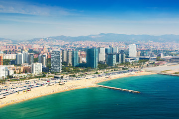 Aerial view of Barcelona from Mediterranean sea in summer