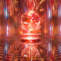 Glass room in a glittering mirror ball 3d rendering background.
