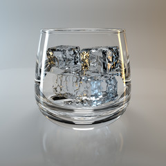 Glass and ice cubes