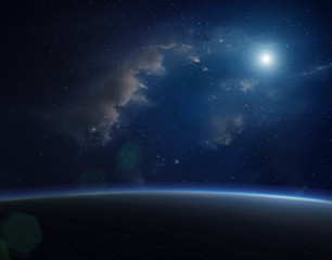 Blue planet with bright star.