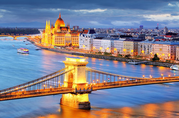 Budapest, night view of Chain Bridge on the Danube river and the
