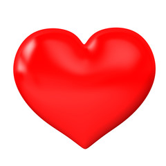 3d red heart on a white background