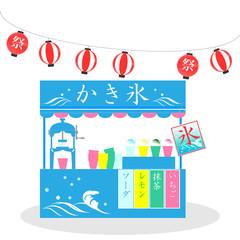 祭、かき氷、氷、屋台、お祭り、縁日、日本、提灯、夏、風景、