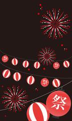 花火、祭、日本、行事、夏、提灯、ちょうちん