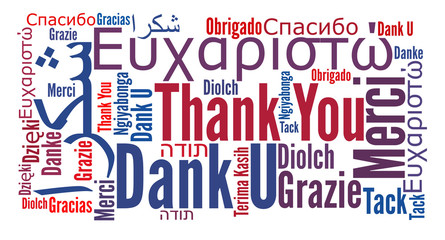 Thank you phrase in different languages. Words cloud concept. Multilingual.
