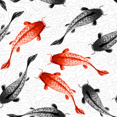 Seamless background with red and black koi carps