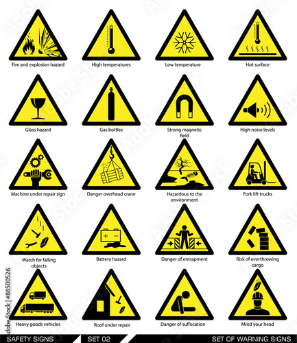 Set Of Safety Signs Caution Signs Collection Of Warning Signs