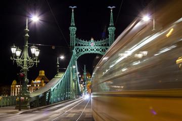 Liberty bridge in Budapest, illuminated at night