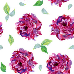 Seamless pattern with pale pink and violet peons