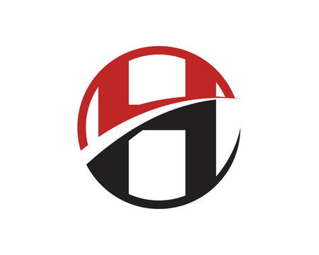 H Letter Logo Swoosh CIrcle