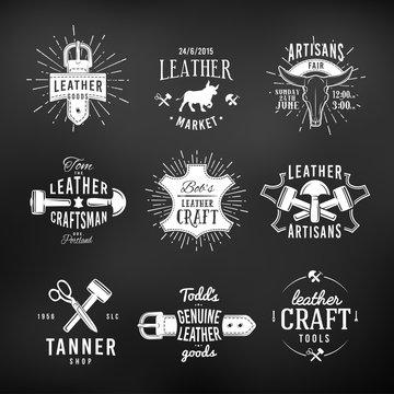 Set of leather craft logo designs, retro genuine vintage tool