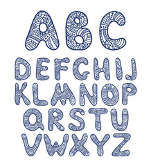 Doodle hand drawn funny alphabet