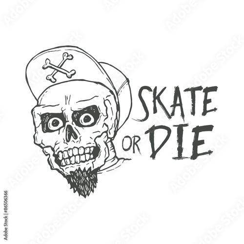 Skate Or Die Lettering Tattoo Design Skater Scull Vintage T Stock
